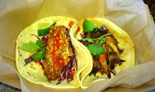 tempeh and carnitas tacos from Corner Taco